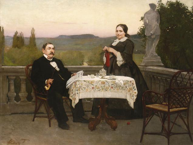 Mikszáth feleségével a horpácsi kúria teraszán Skuteczky Döme festménye